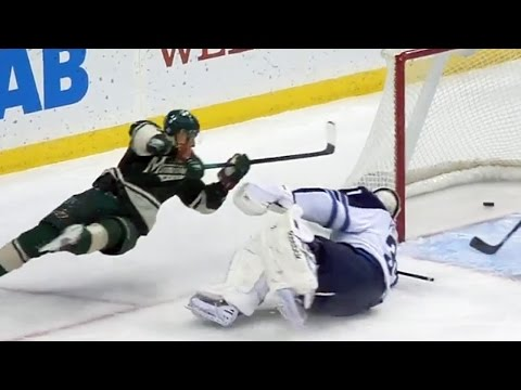 Niederreiter nets backhand as he is falling