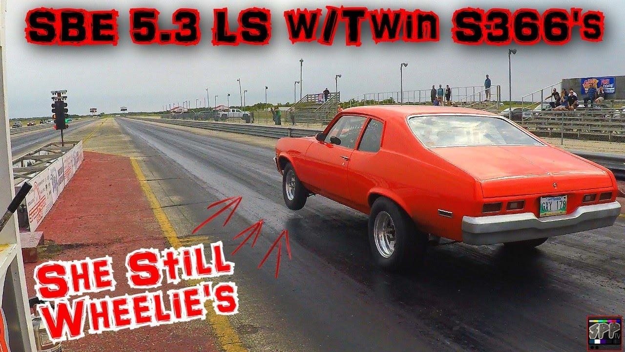 FIRST TIME RACING THE NEW TWIN TURBO LS COMBO | Junkyard SBE 5 3 LS Nova  w/Twin S366 Turbos