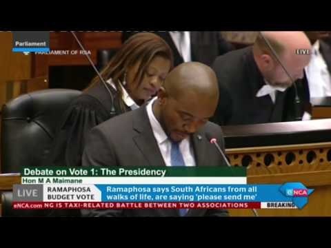 Maimane responds to  Presidency budget vote speech