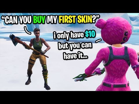 Twitch streamer gives me his FIRST donation so I could buy my first skin on Fortnite... (emotional)