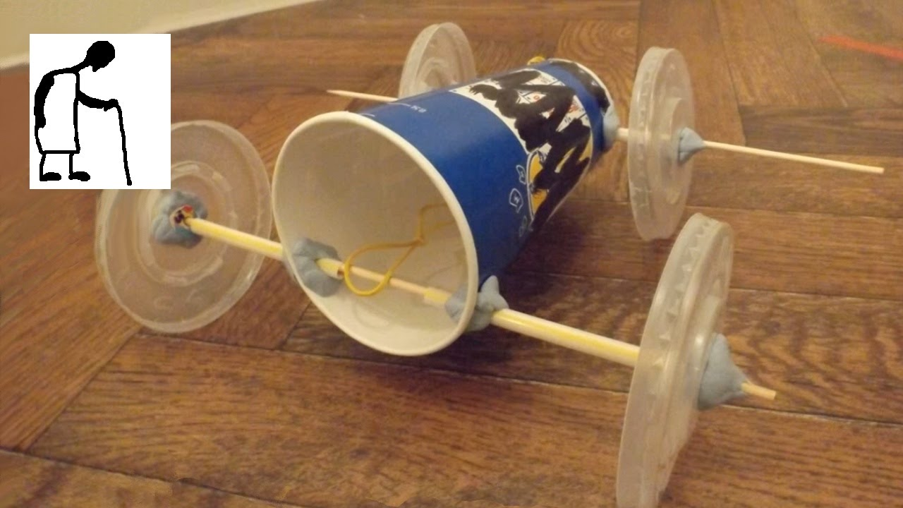 Fast Food Chain Components Rubber Band Powered Car Youtube