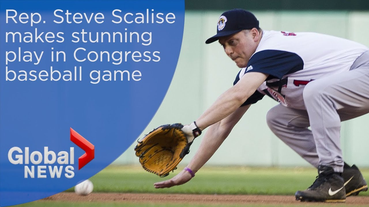 Steve Scalise makes highlight play in congressional baseball game