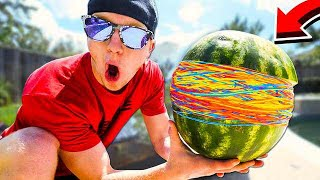 500 RUBBER BANDS vs WATERMELON CHALLENGE!