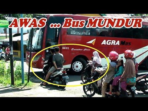 Akibat Pengendara Motor gak Hati-Hati,, Bus Mundur,,, gak kelihatan dari spion