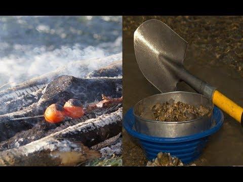 Goldschürfen und Outdoor Cooking am Lagerfeuer bei -7 Grad in Bayern -