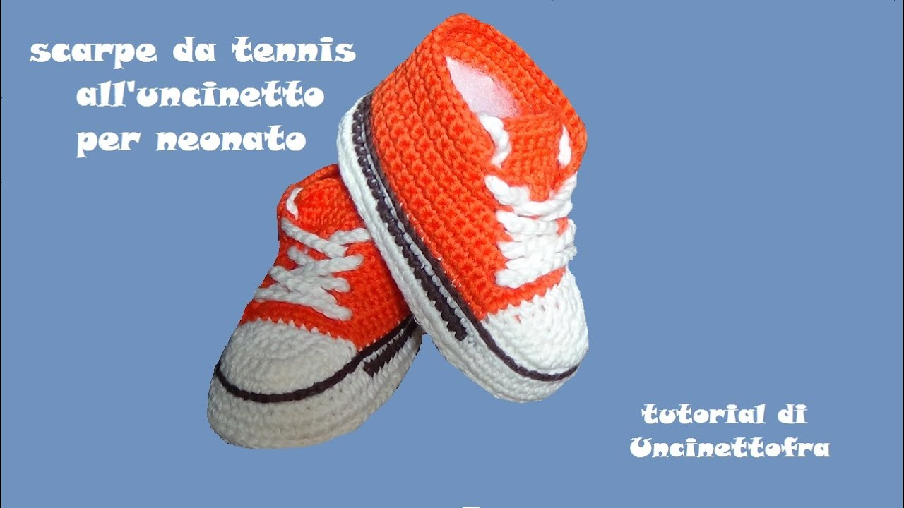 scarpine da tennis all uncinetto per neonato - YouTube 8ee2dc606d6b