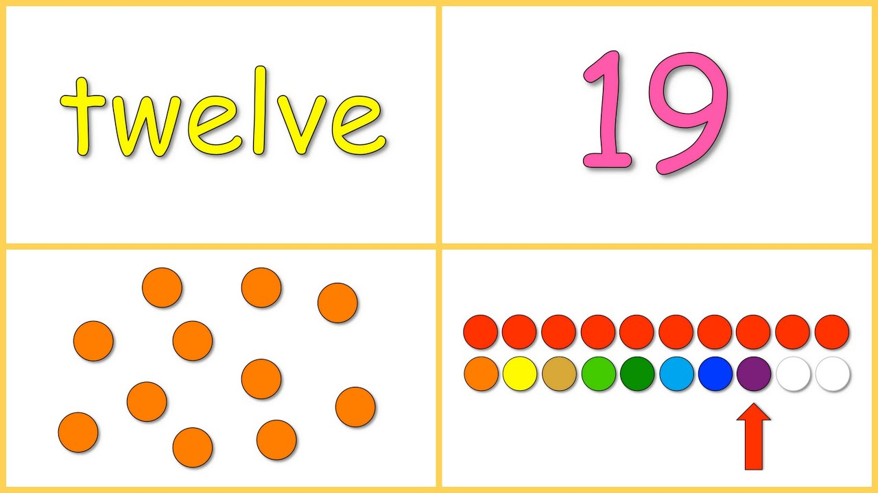 Baby Math: Numbers 10-20 (dots, Numerals, Words, Rows