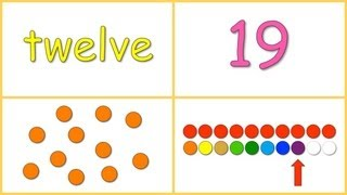 Baby Math: Numbers 10-20 (dots, numerals, words, rows)