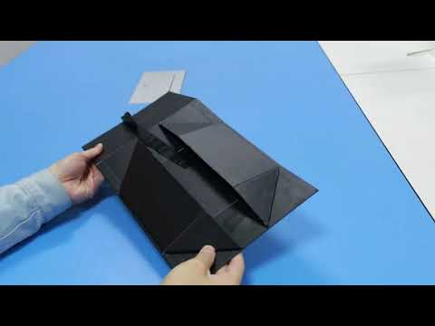OEM handmade gsm black box cardboard paper folding rigid box with slik ribbon packaging