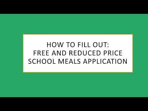 How To Complete A Free And Reduced Priced Meals Application