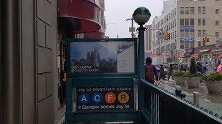 MTA NYC Subway: (A) (C) (F) (R) trains at Jay St - Metrotech