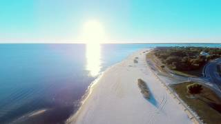 4K Aerial - Mississippi Coast Beach in Pass Christian