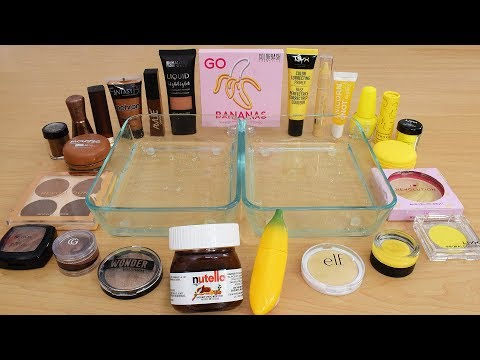 Nutella Vs Banana - Mixing Makeup Eyeshadow Into Slime Special Series 211 Satisfying Slime Video