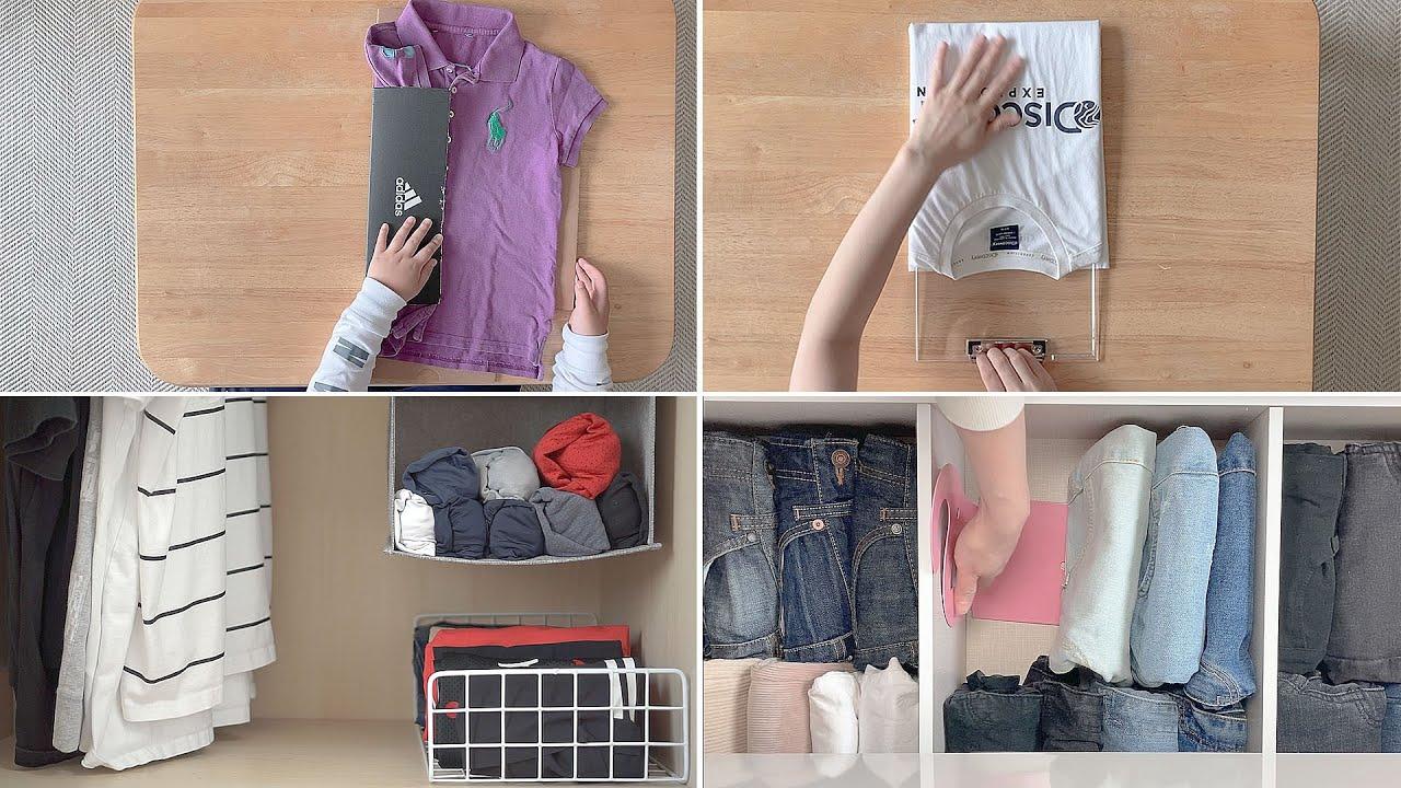 [SUB] 옷정리꿀팁|여름맞이 옷 정리|옷 잘 접는 법|반팔티|반바지|흐물거리는 옷|점프슈트|양말|How to fold clothes well.
