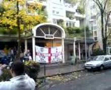 Spurs flags outside Jamesons pub in Koln