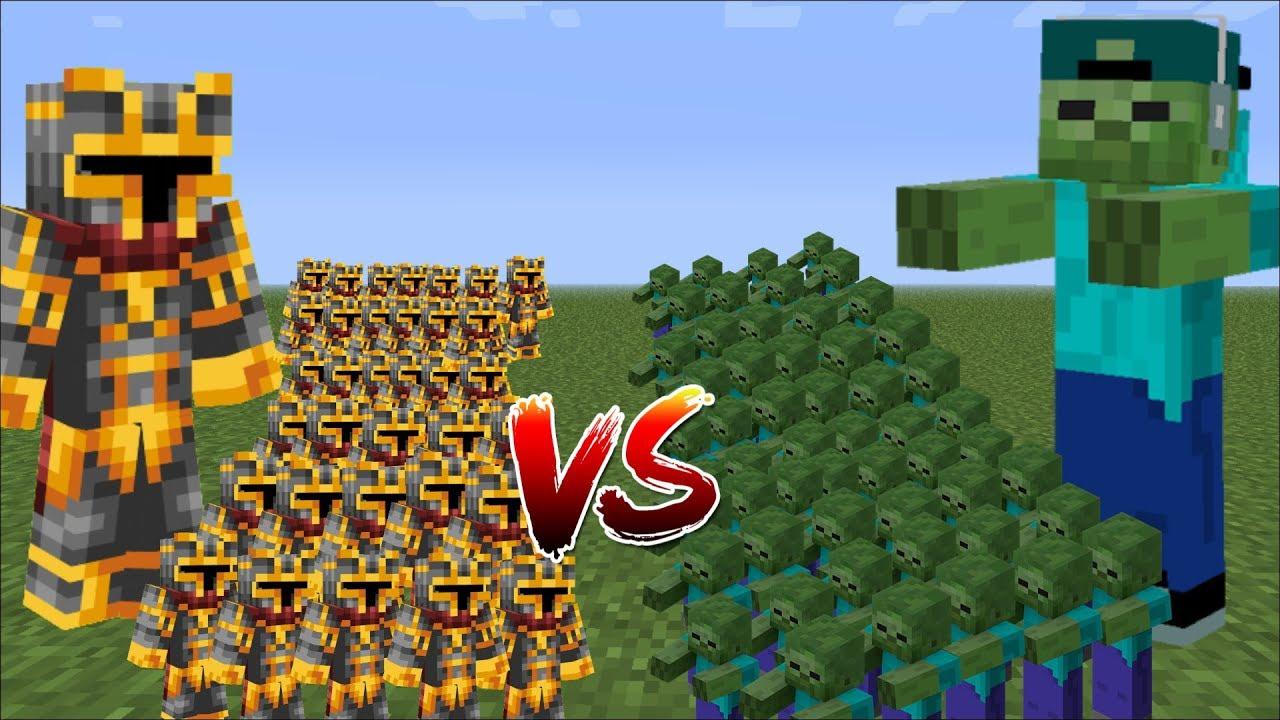 Minecraft 1000 Zombies Vs 1000 Mc Naveed Battle War Battles With Mini Soldiers Minecraft Youtube Naruto Art Soldier Minecraft