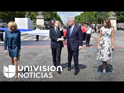 Visita del presidente Trump a Francia deja imágenes de saludos curiosos, e incluso incómodos