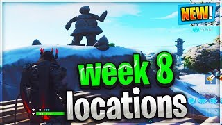 Search between a mysterious hatch, a giant rock lady, and a precarious flatbed location Fortnite