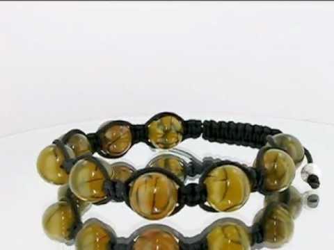 Disco Ball  Yellow Dragon Eye Agate Beads Macrame Bracelet