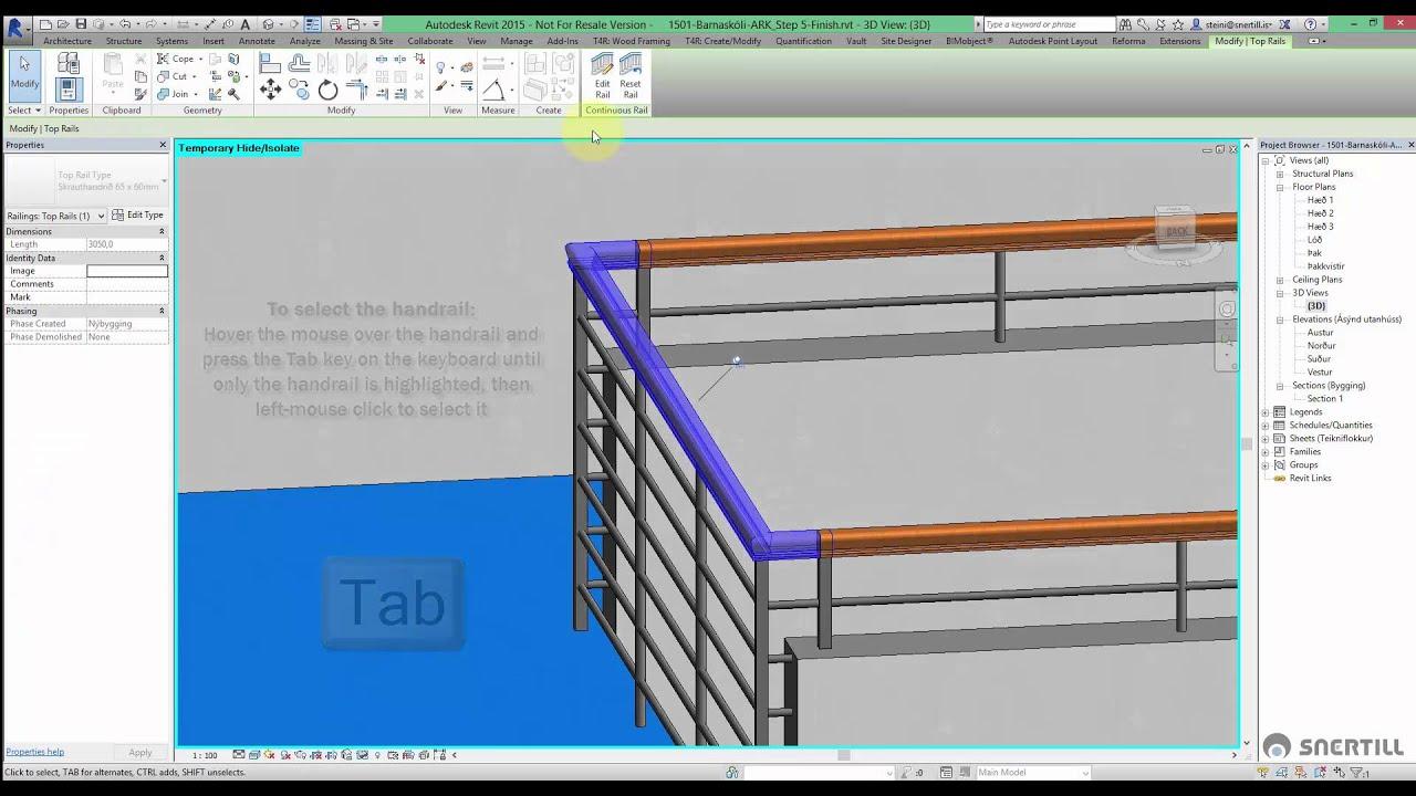 Revit 2015 - Edit Handrail on Railings