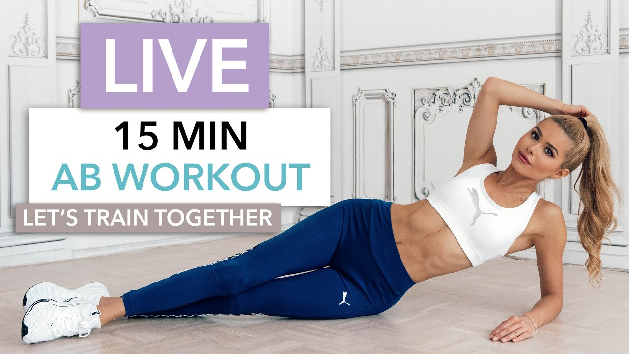 15 MIN AB WORKOUT - Let's Train Together / No Equipment I Pamela Reif