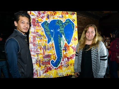 Artist Sanjay Dangol live painting time-lapse in Patan, Nepal