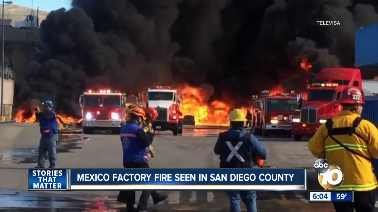 Mexico factory fire seen in San Diego County