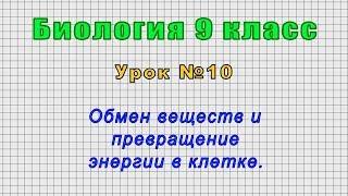Биология 9 класс (Урок№10 - Обмен веществ и превращение энергии в клетке.)