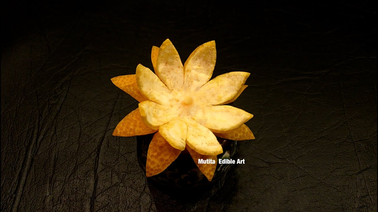 Orange mandarin simple lotus flower from skin beginners lesson orange mandarin simple lotus flower from skin beginners lesson 145 mutita art of fruit veget izmirmasajfo
