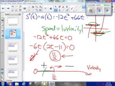 Particle motion, over an interval, maximum speed, displacement, distance