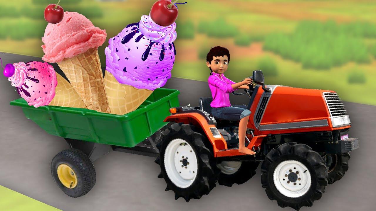 పెద్ద ఐస్ క్రీమ్ ట్రాక్టర్ Giant Icecream Tractor Moral Story Telugu Kathalu - 3D Telugu Fairy Tales