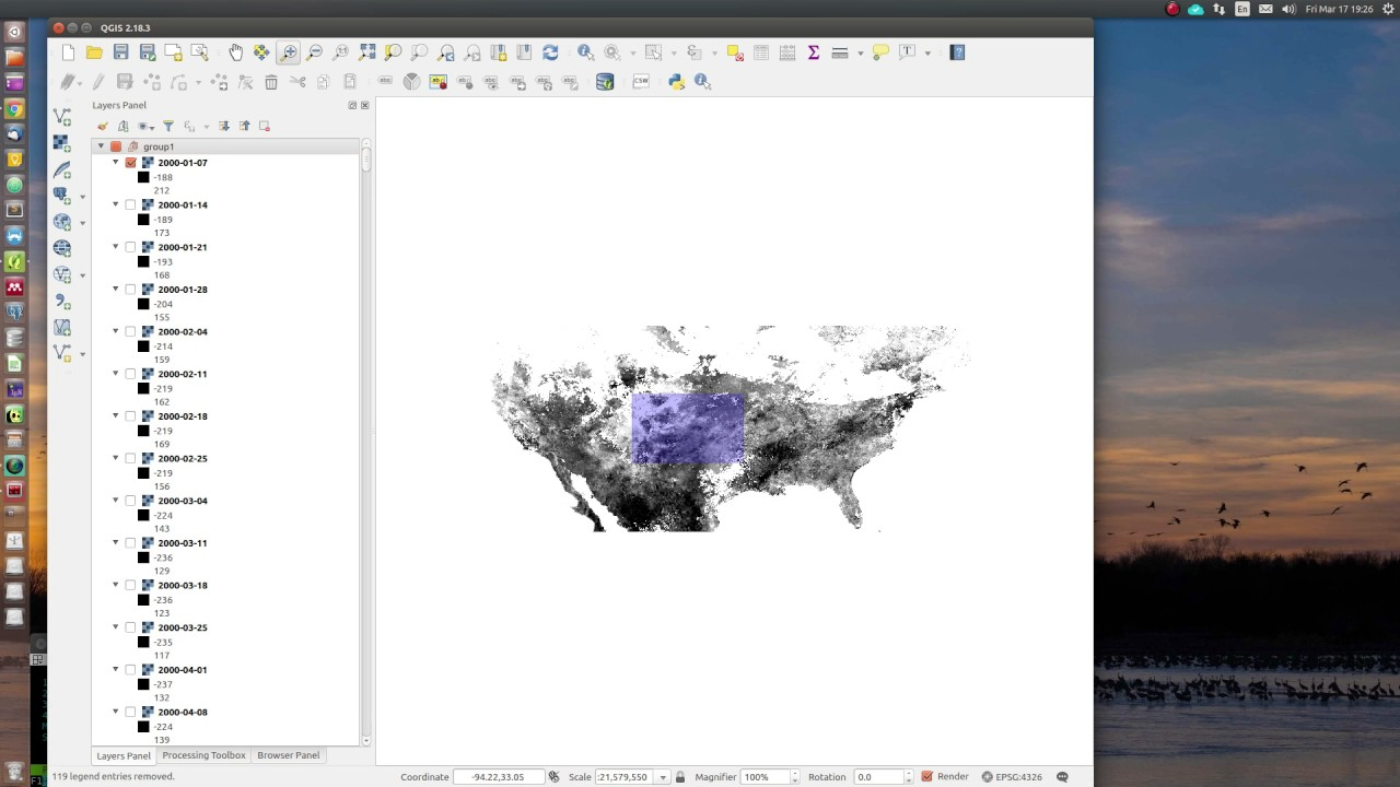 Retrieving raster time-series data using QGIS