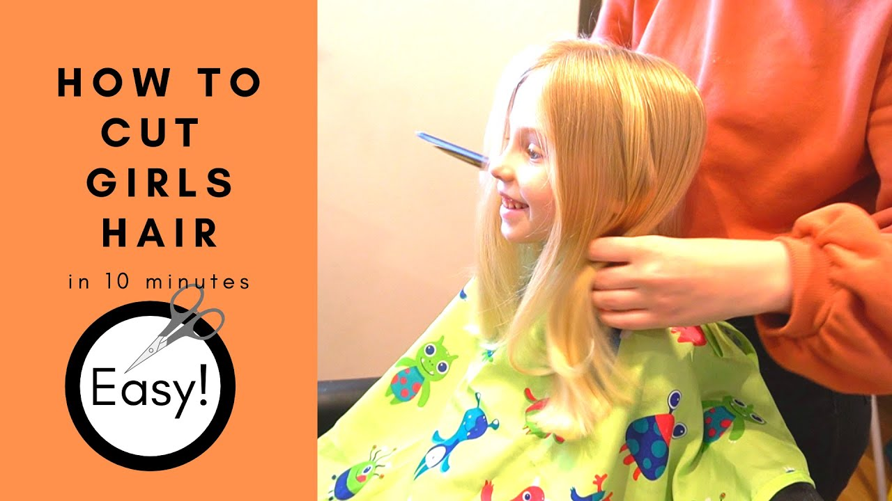 HOW TO CUT GIRLS HAIR  basic girls trim  hair tutorial  start to  finish in 12 minutes  EASY