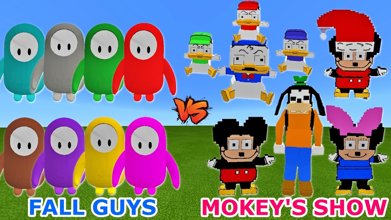 FALL GUYS  vs. MOKEY'S SHOW (Mickey Mouse Parody) | What's a SURPRISE RESULT | Minecraft