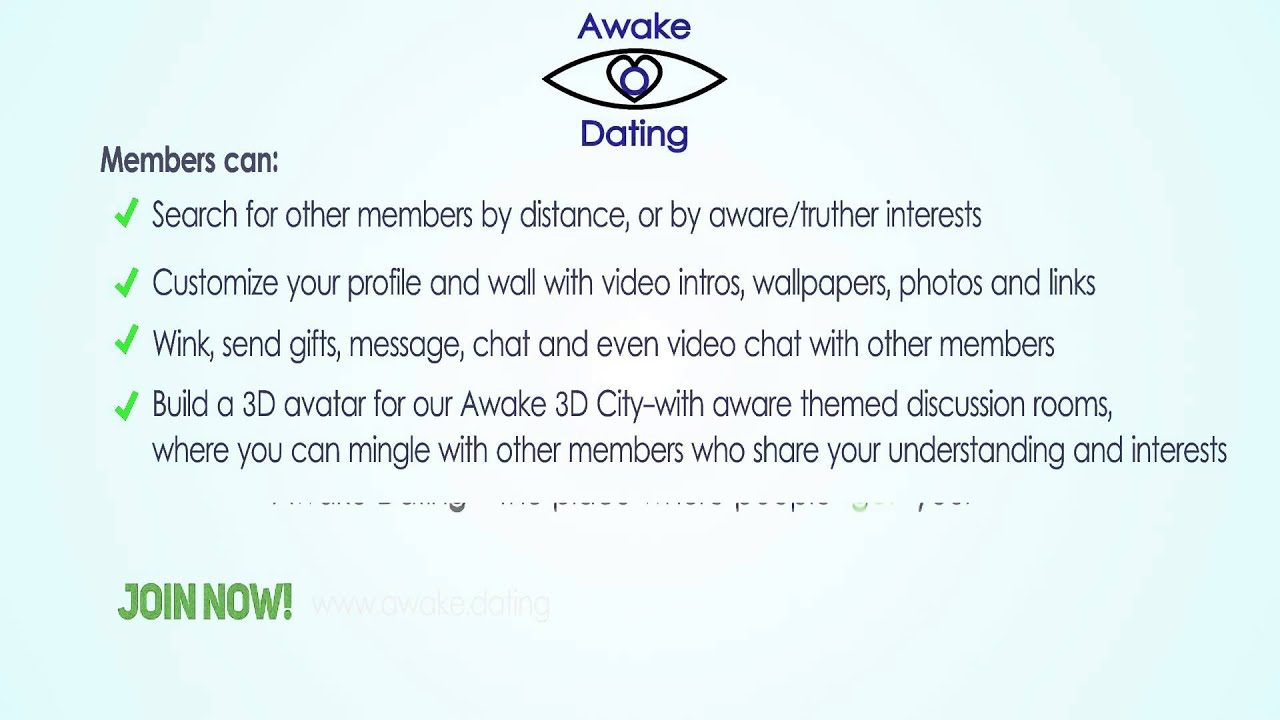 awake dating youtube Youtube/wam wide awake media ltd there are dating sites for everyone these days one of the more obscure ones is awake dating , a new site exclusively for conspiracy theorists.