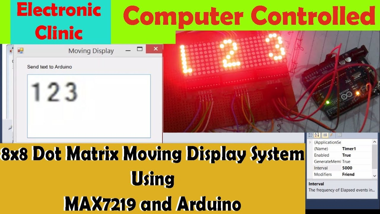 8x8 Dot Matrix Moving Display Circuit Diagram Program Digital Meter Also Led On Voltmeter Message Displaymax7219 And Arduino Electronic Clinic