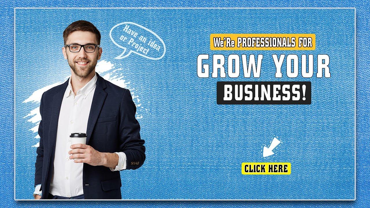 Business Promotion Web Banner Design | Photoshop CC Tutorial