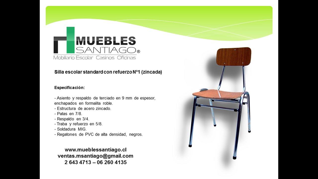 Silla escolar standard con refuerzo n 1 zincada sillas for Muebles colegio