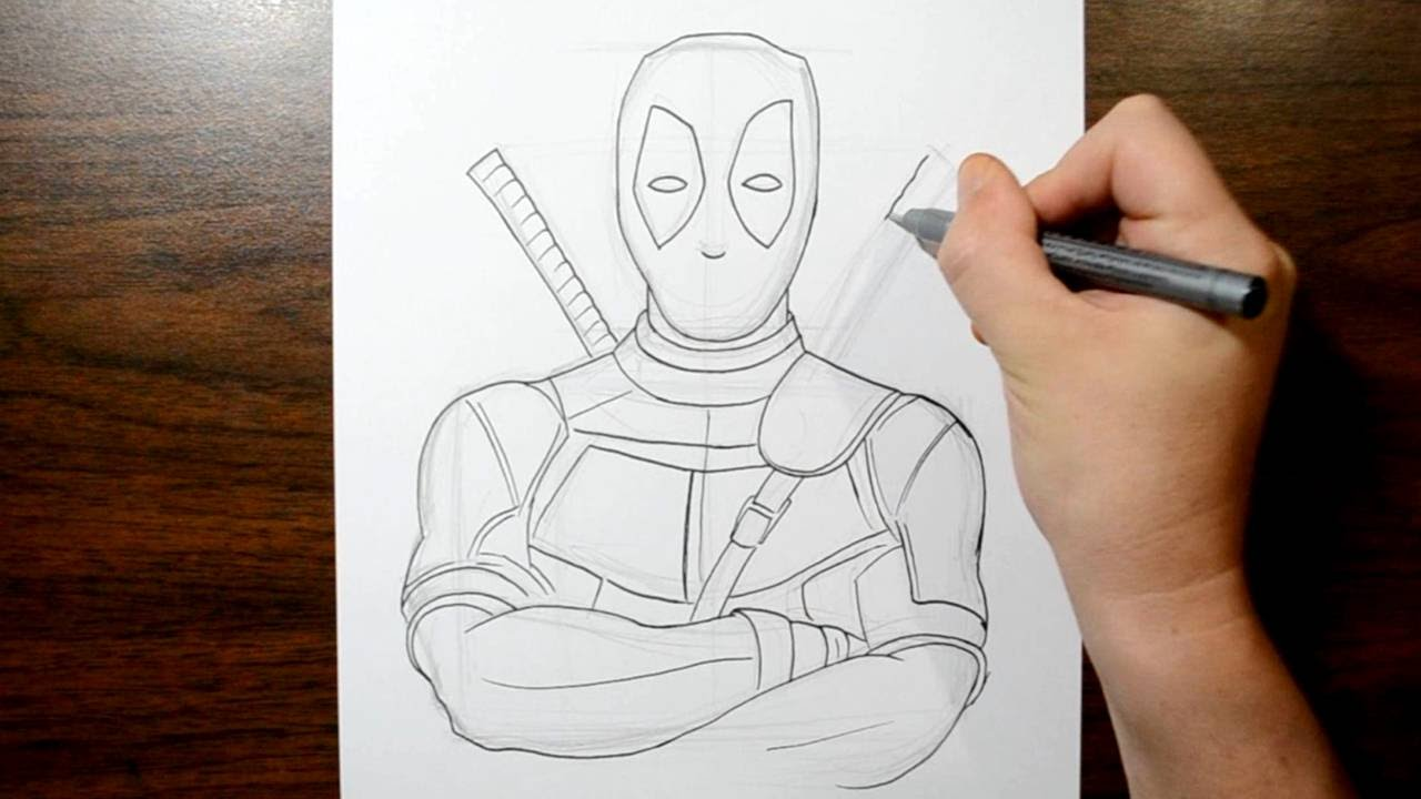 How to Draw Deadpool - YouTubeDeadpool Sketch