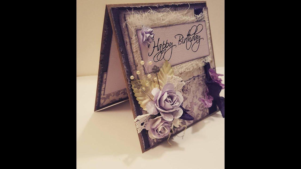 Shabby Chic Purple Birthday Card - YouTube