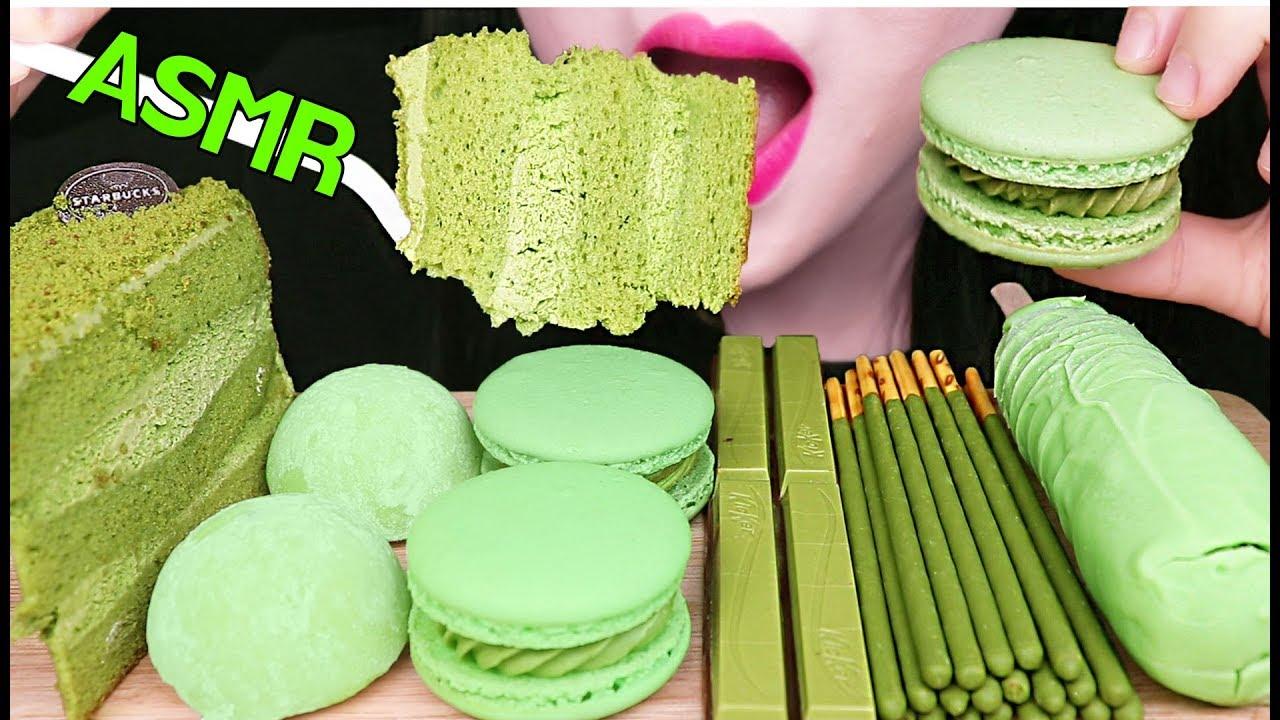 ASMR GREEN TEA ICE CREAM, MOCHI, MACARON, CAKE, POCKY 녹차 아이스크림, 케이크, 마카롱, 모찌 먹방 EATING SOUNDS