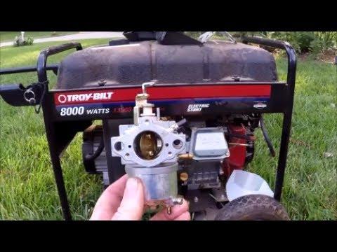 Troy Bilt 8000 Watts Generator Model 030247 15HP B& S Engine - Cleaning  Carburetor - May 30, 2017
