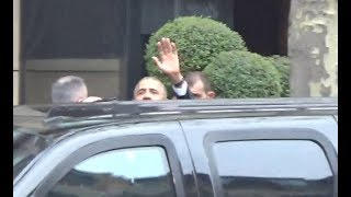 VIDEO Former US President Barack Obama and motorcade @ Paris december 2, 2017 / décembre