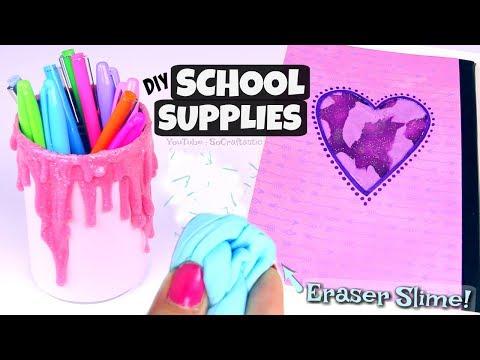DIY SLIME SCHOOL SUPPLIES for Back-To-School / Eraser Slime, Liquid Notebook & Pencil Holder