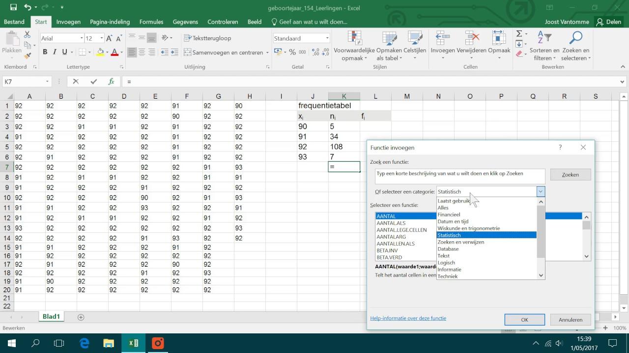 frequentietabel opstellen met Excel