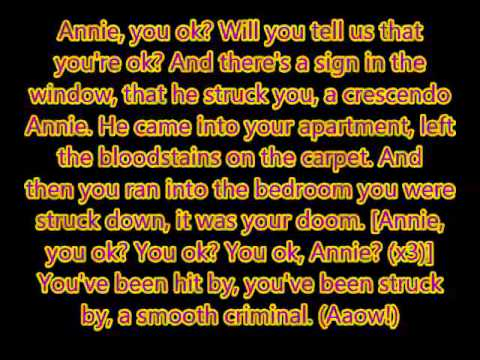 Alien Ant Farm Smooth Criminal Unofficial Lyric Video Youtube