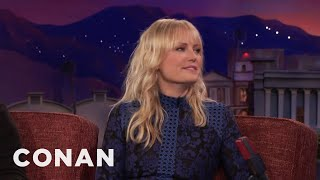 Malin Akerman's Painful, Pinchy Wire Stunt  - CONAN on TBS