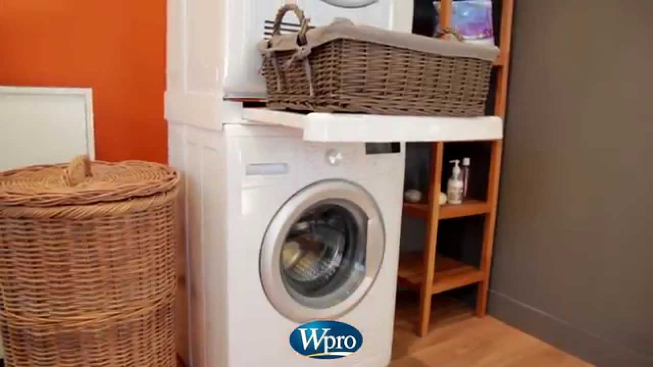 Kit de superposition pour lave linge et s che linge wpro youtube - Machine a laver et seche linge ...