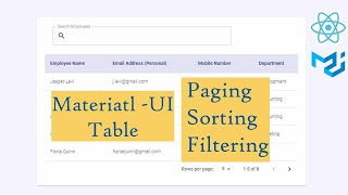 React Material UI Table with Paging Sorting and Filtering