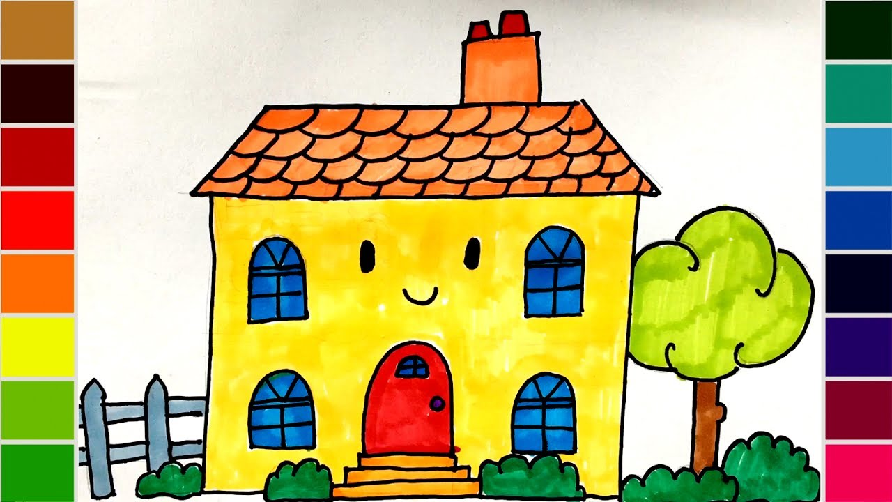 Coloring Pages For Barbie : How to draw a barbie doll house coloring pages for kids youtube